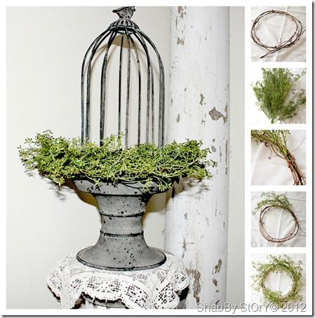 A wire cloche in a shallow urn - would look good inside or outside ...