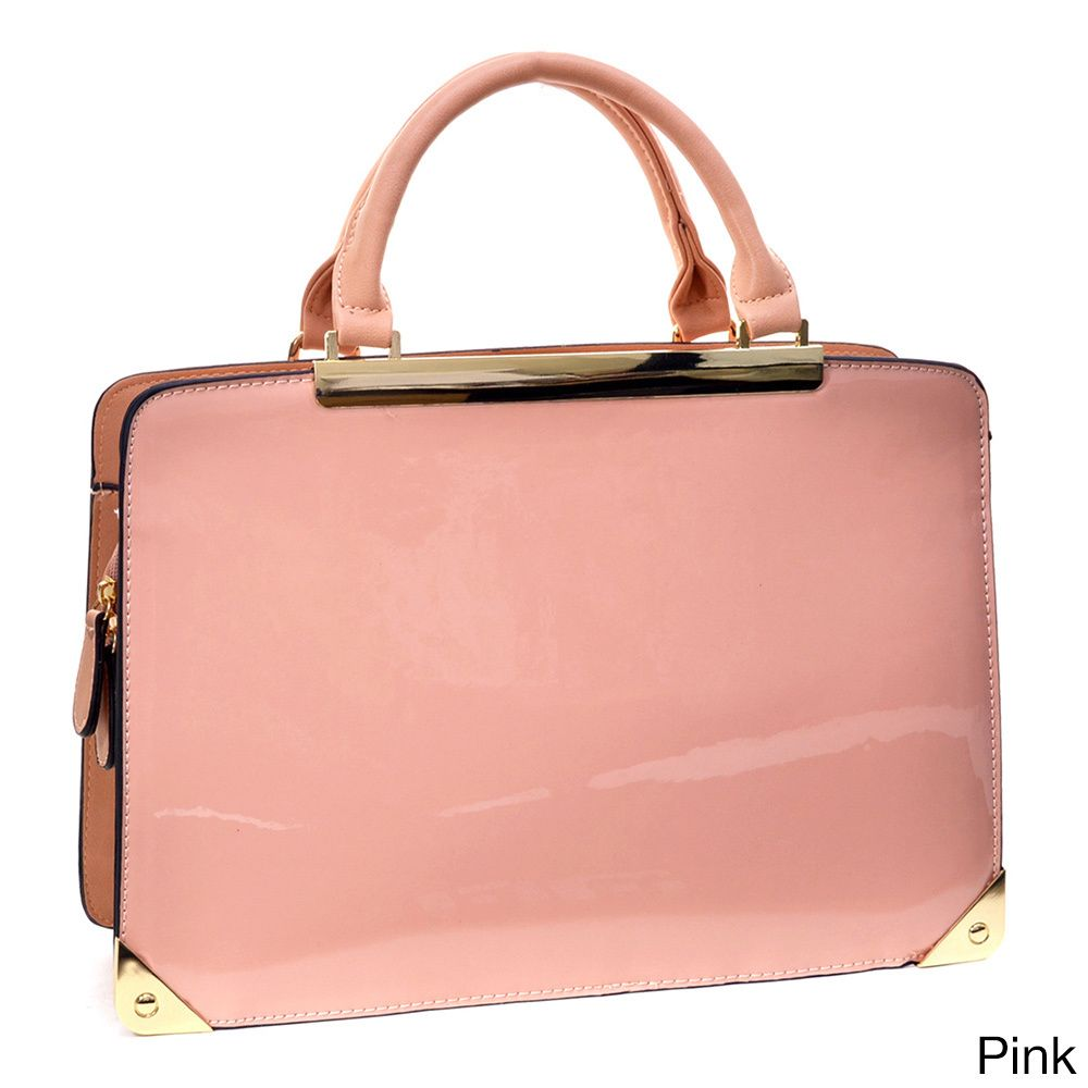 Dasein Patent Briefcase-style Structured Bag - Overstock™ Shopping - Great Deals on Dasein Shoulder Bags
