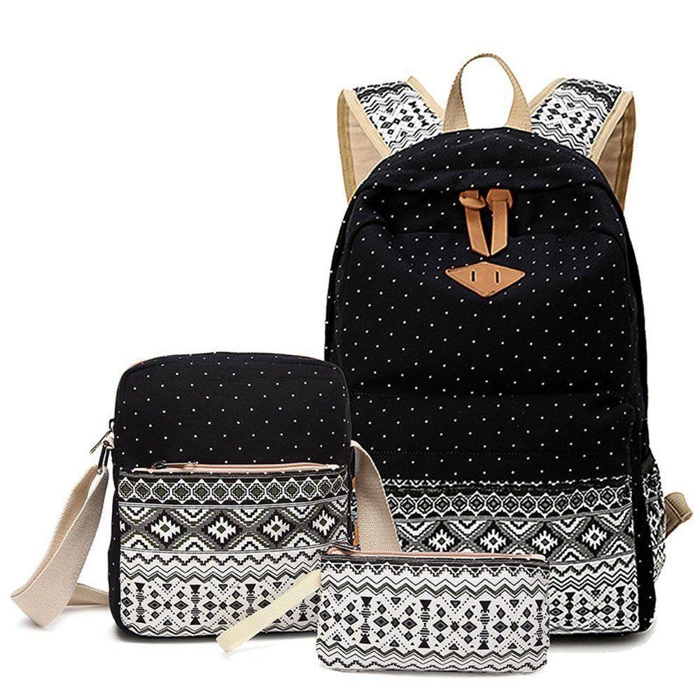 Alando Canvas Dot Backpack Cute Lightweight Teen Girls Backpacks ...