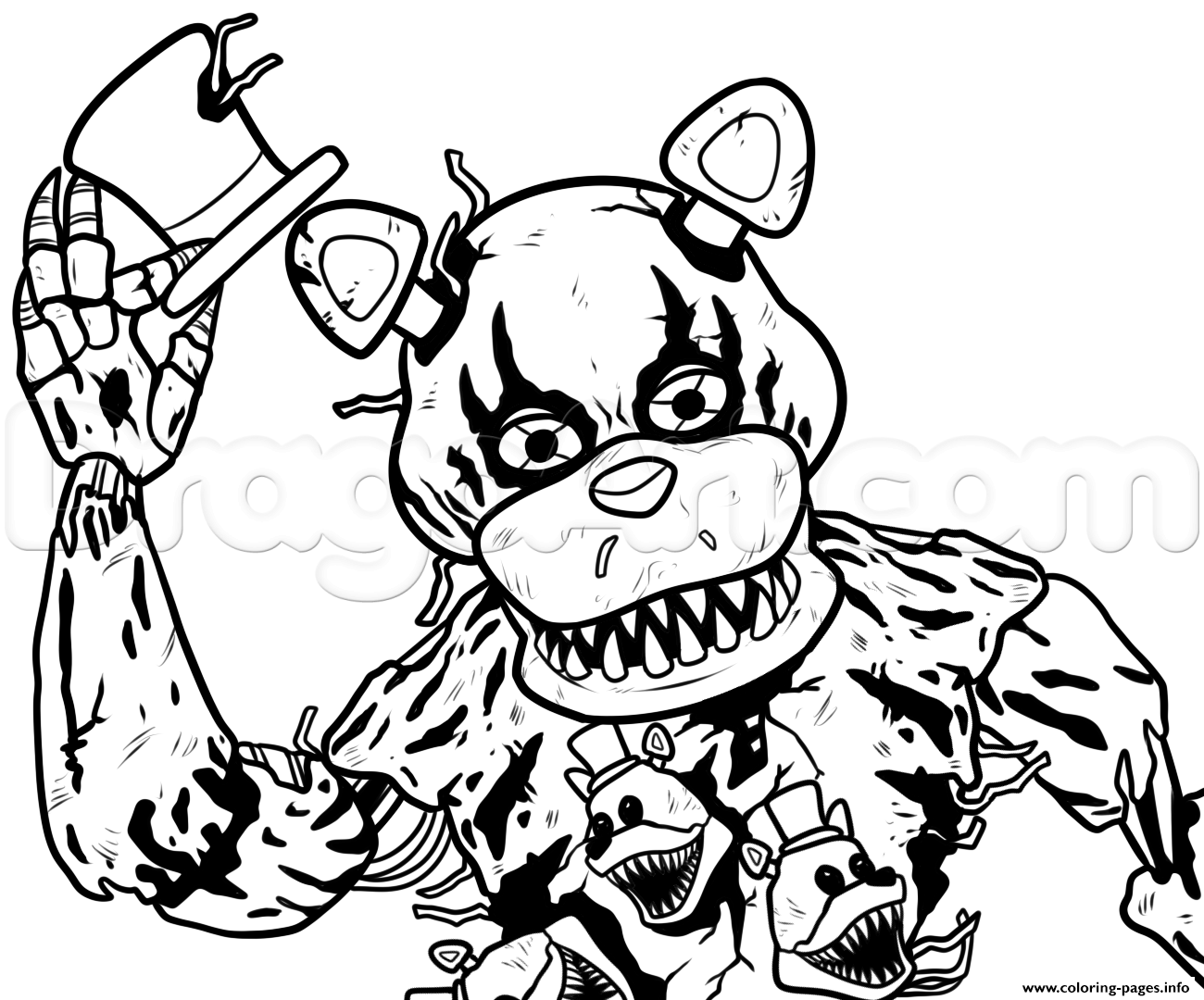 print draw nightmare freddy fazbear five nights at freddys fnaf