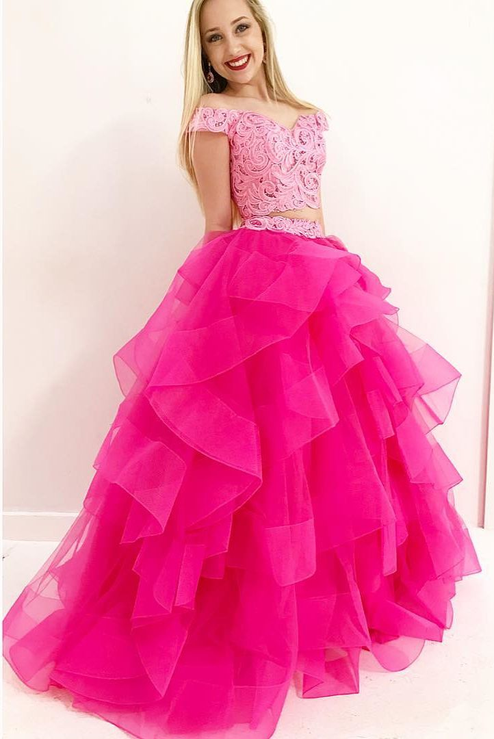Gorgeous Off the Shouler Hot Pink Long Prom Dress Ball Gown ...