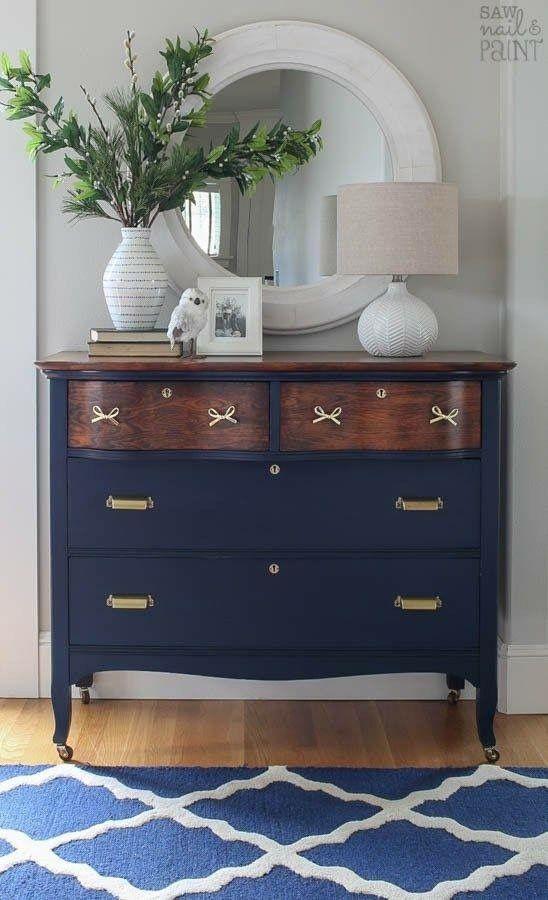 Cherry With Dark Blue Furniture Makeover