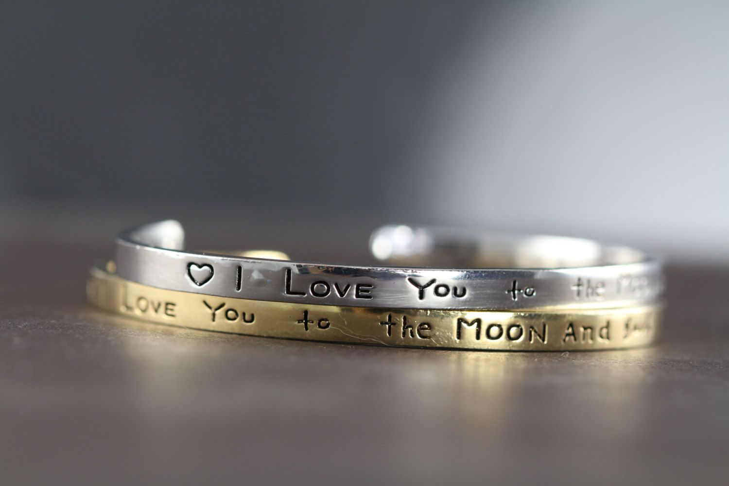 Cuff Bracelet Silver or Gold Hand Stamped, I Love You to the Moon and Back, by ShinyLittleBlessings