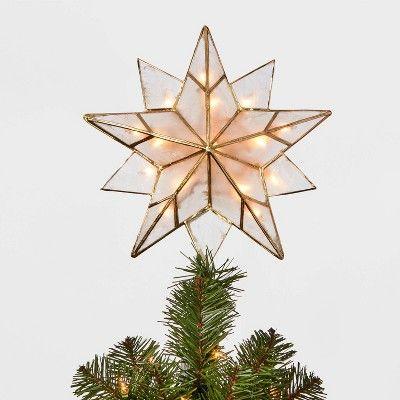 13in 16 Light Capiz Star Tree Topper Clear/Gold - Wondershop -   18 christmas tree topper diy star ideas