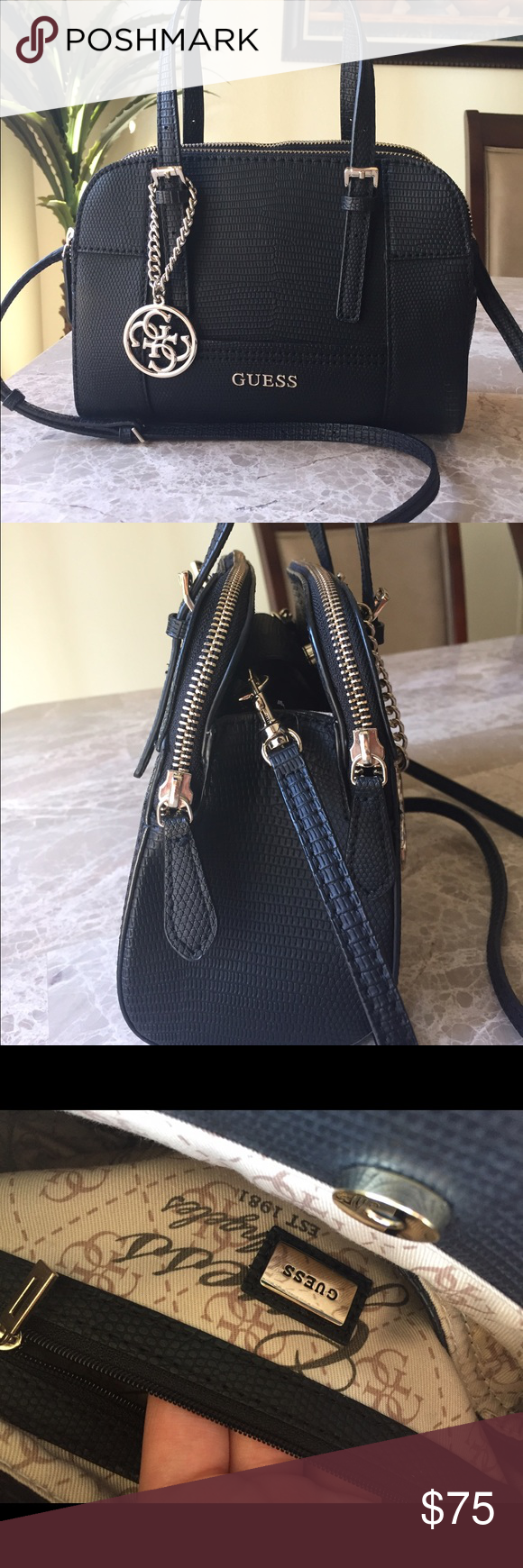 Guess Huntley Small Cali Satchel - Black Only used a few times-in great  condition. Small black handbag. Guess Huntley Small Cali Satchel Guess Bags  Mini ... 15ec1a799437a