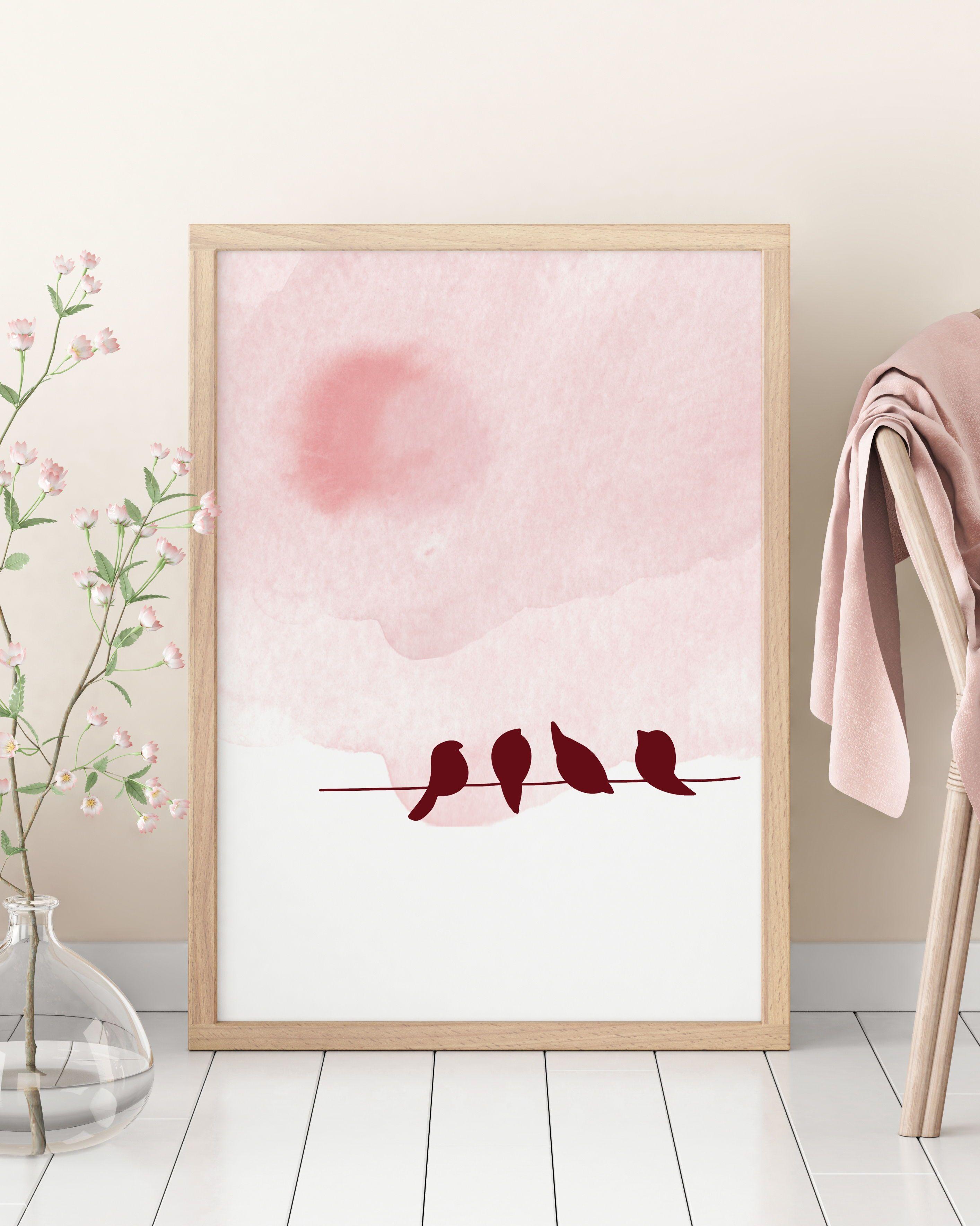 Modern Minimalist Bird Art Print Bird Poster Prints Wall Etsy Pink Wall Art Pink Wall Art Ideas Wall Art Prints