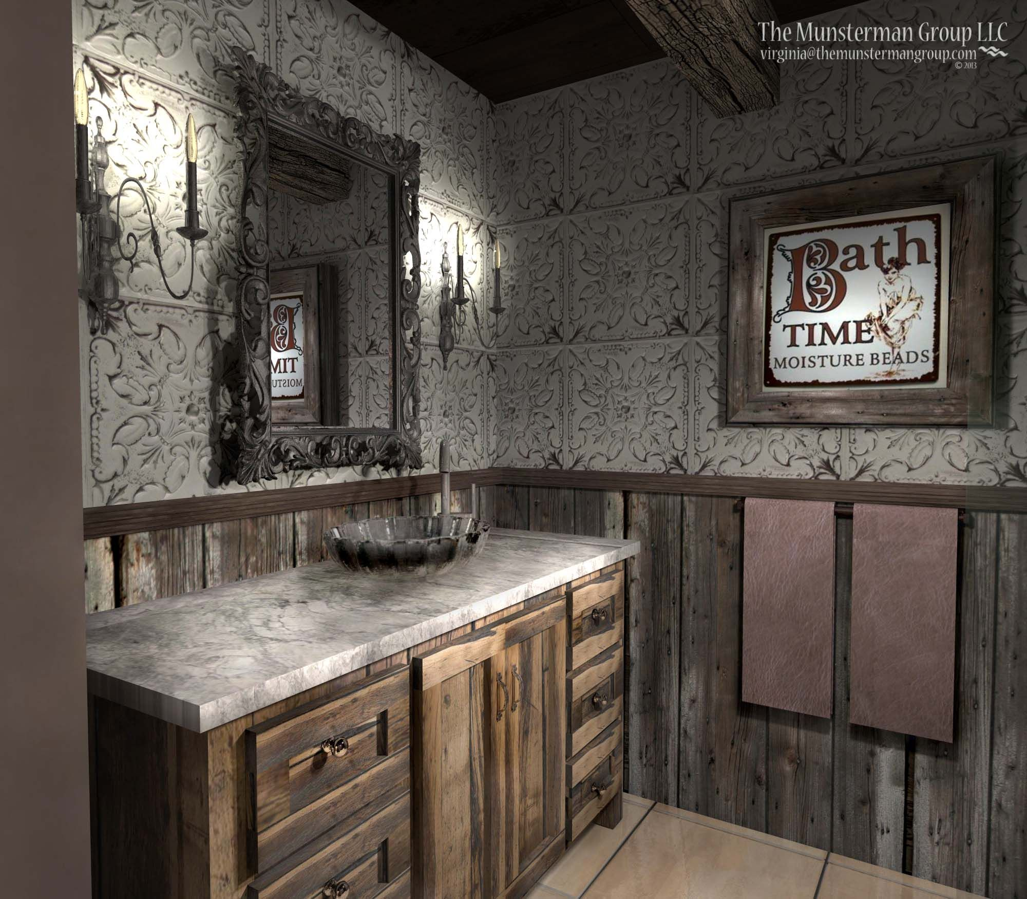 11 12 13 diamond mine bathroom redesign barn wood reclaimed tin tile backsplash rustic wood creates a diamond mine feel