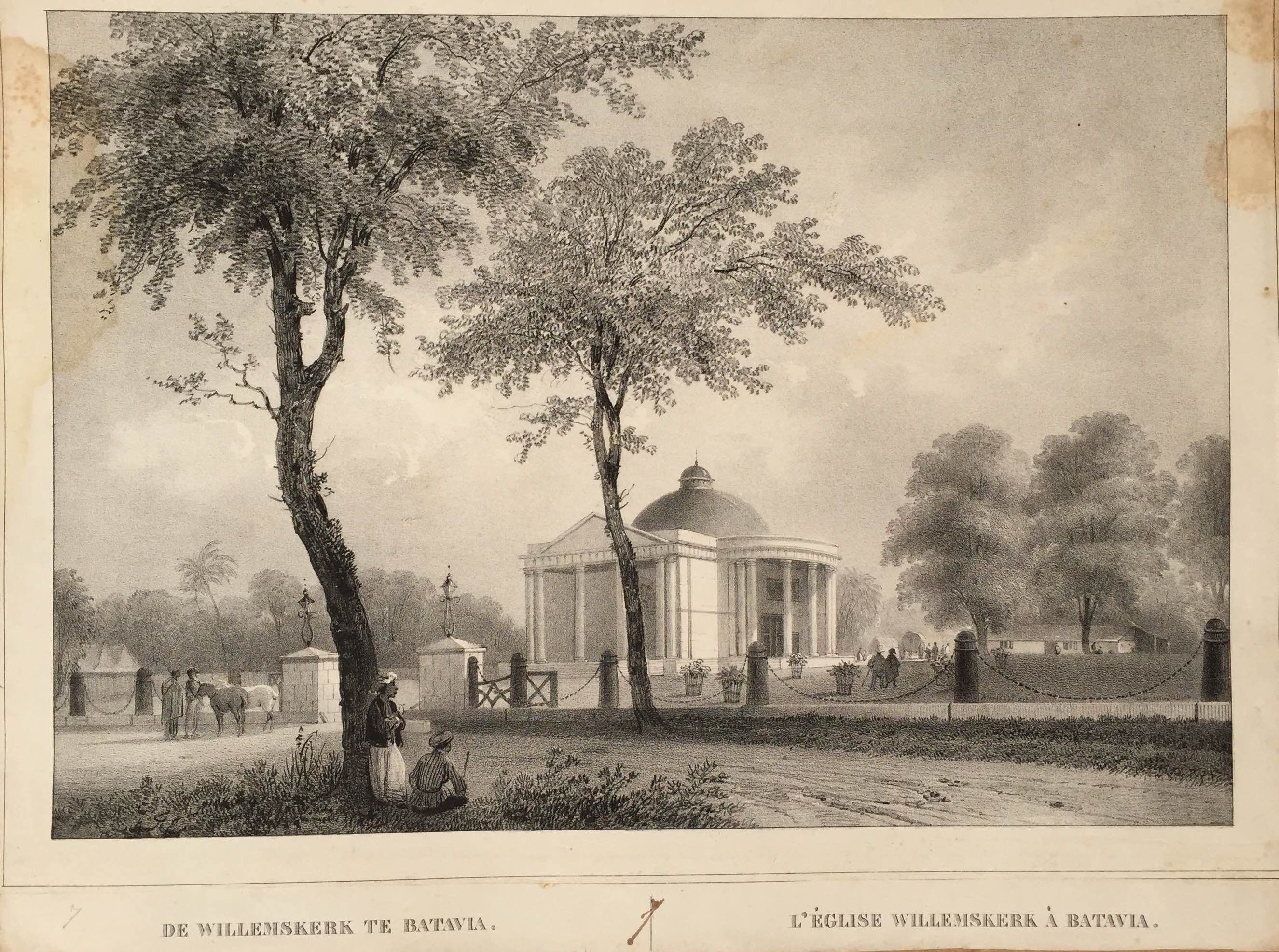 Willems Chruch in Batavia DE WILLEMSKERK TE BATAVIA   L'ÉGLISE WILLEMSKERK A BATAVIA A very fine and detailed black and white mid-19th century lithograph by Paulus Lauters (1806-1875) of Willems Chruch in Batavia (present-day...
