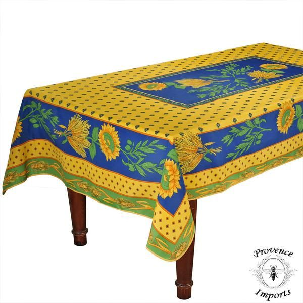 Tournesol Blue/Yellow French Provencal Stain Resistant Tablecloth   59   I  Dream Of France