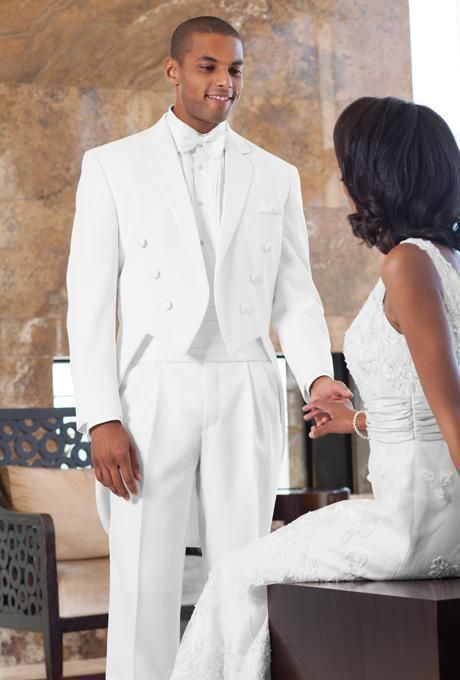 New Arrival White Men Tailcoats Notched Lapel Wedding Suits For Formal Slim Fit