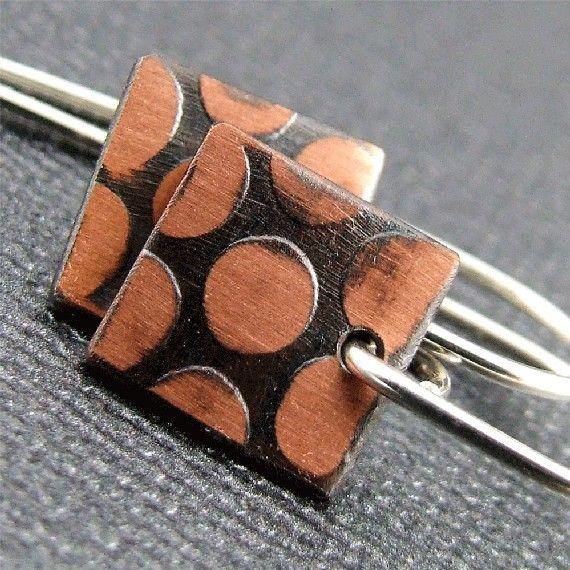 Copper Polka Dot Earrings by manicmetals on Etsy, $22.50