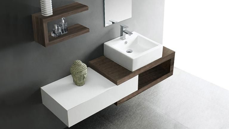 Meuble de salle de bain simple vasque bicolore 150 cm Carmen