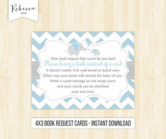 Elephant Baby Shower Book Request Card Bring A Book Card Printable Bring A Book  Instead Of Card Baby Shower Card Blue Baby Shower By RebeccaDesigns22