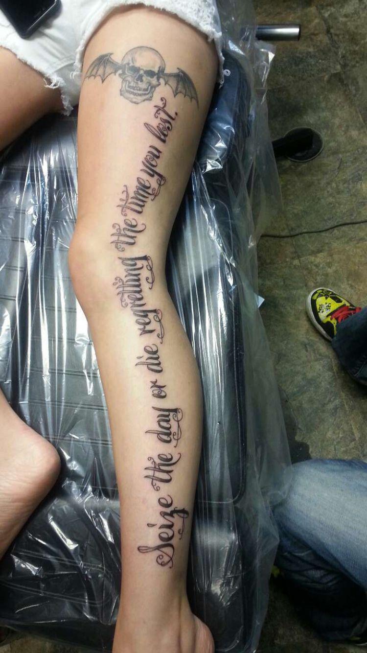 Av av avenged sevenfold tattoo designs - Seize The Day Or Die Regretting The Time You Lost Leg Tattoo Avenged Sevenfold
