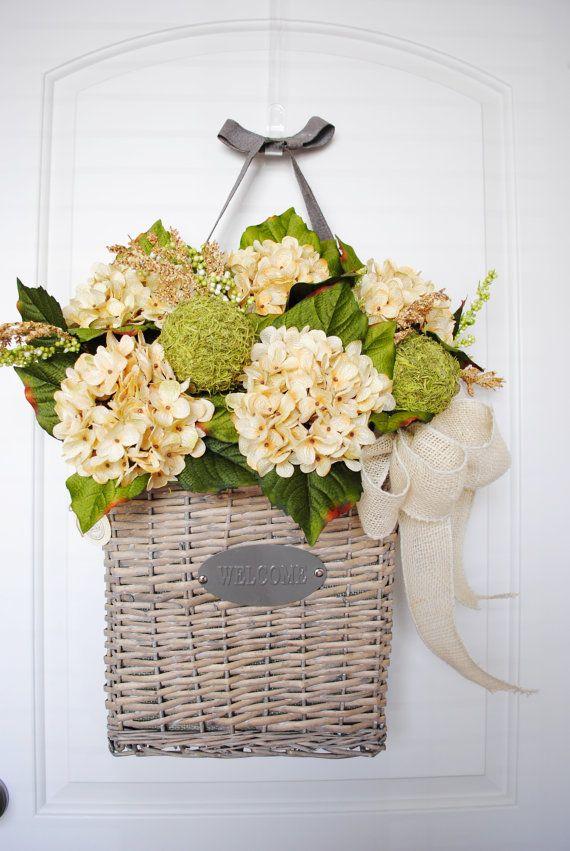 Superior Large Hanging U0027Welcomeu0027 Door Basket With Antique White Hydrangeas U0026 Ivory  Burlap Bow.