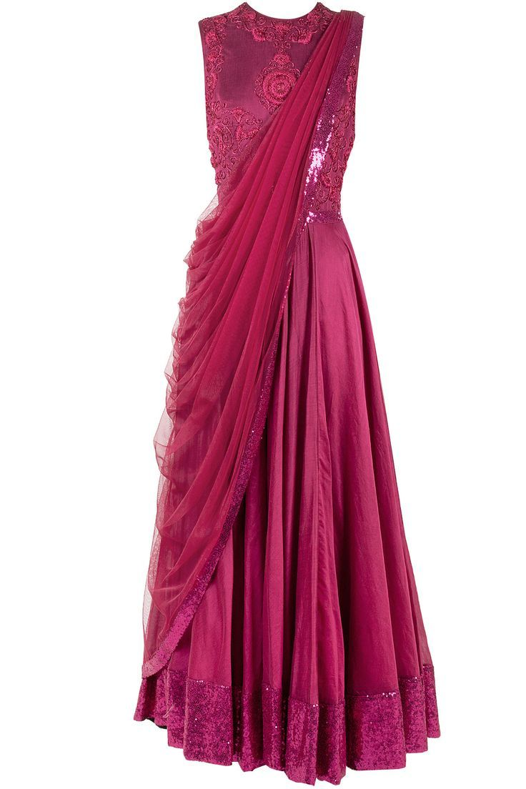 Wine colour Saree gown  Saree gown, Indian gowns, Indian gowns