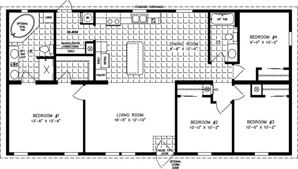 Manufactured Home Floor Plan The Imperial Limited Model Imlt 45215b 4 Bedrooms 2 Baths House Floor Plans Mobile Home Floor Plans Bedroom Floor Plans