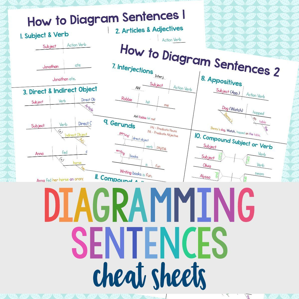 Diagramming Cheat Sheets Grades 4 8 With Images