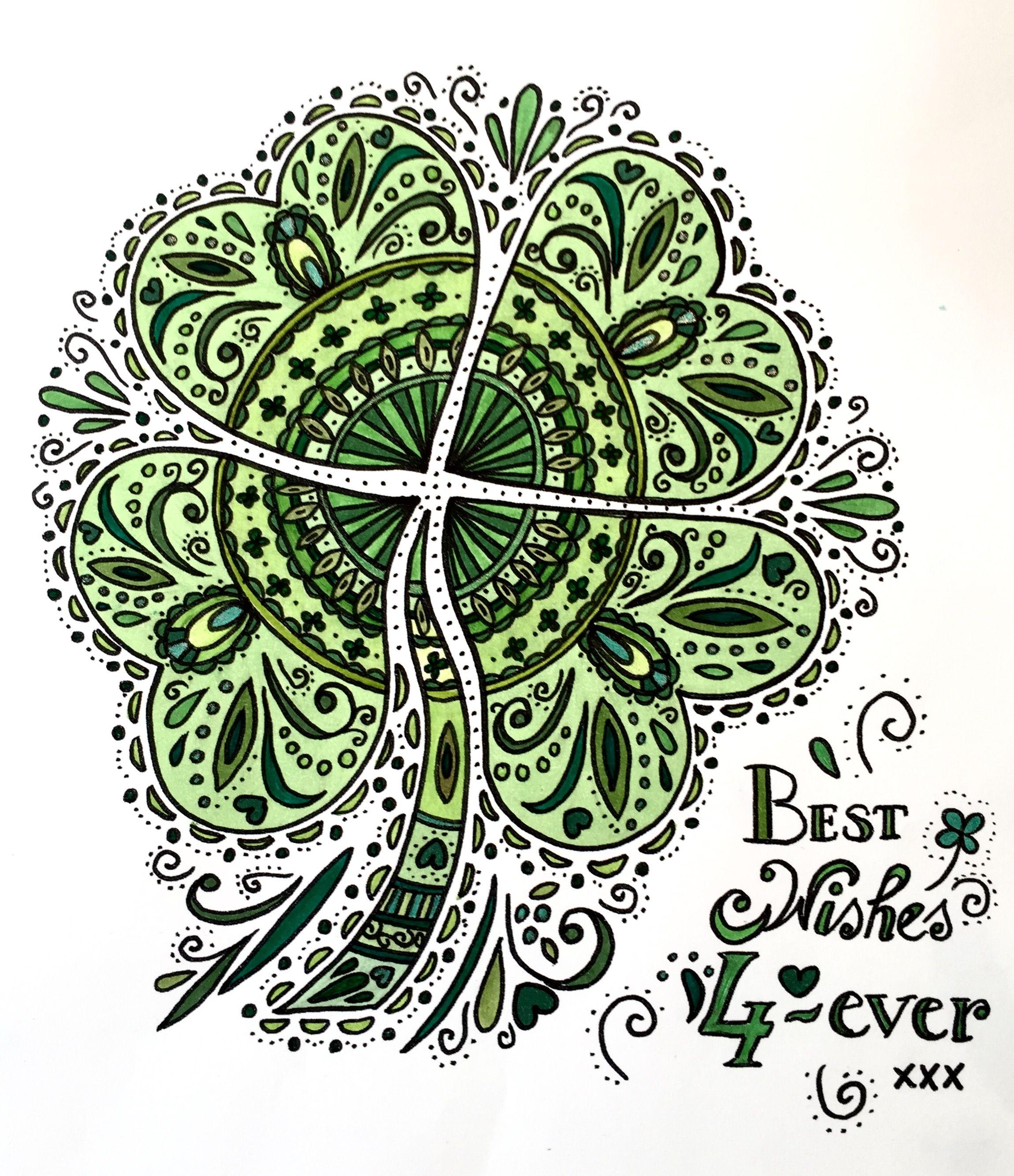 kleurplaat klavertjevier color sheet four leaf clover