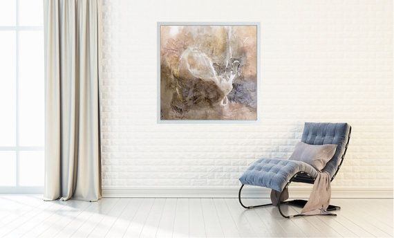 "Large Abstract Painting, Abstract Art, Canvas art, Fine Art Print, Wall Art, brown pink gray neutral, ""Glyph 4b"""