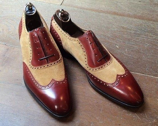 New Handmade Men Classic Brogue Style Wing Tip Leather two tone Dress Shoes