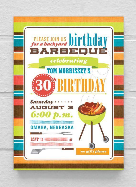 BIRTHDAY INVITATION 30th 40th 50th 60th 70th 80th Birthday Bbq Barbeque Invitation Customizabl