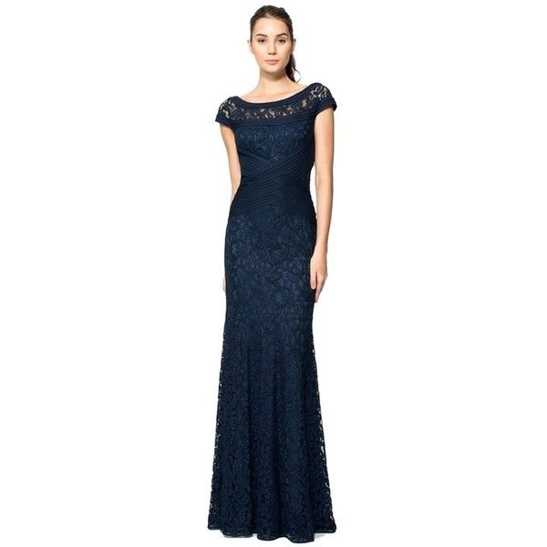 Pre-owned Tadashi Shoji Navy Blue Pintuck And Lace Cap Sleeve Gown... ($268) ❤ liked on Polyvore featuring dresses, gowns, navy blue, navy blue lace dress, blue ball gown, navy blue ball gown, blue lace dress and navy blue evening gown