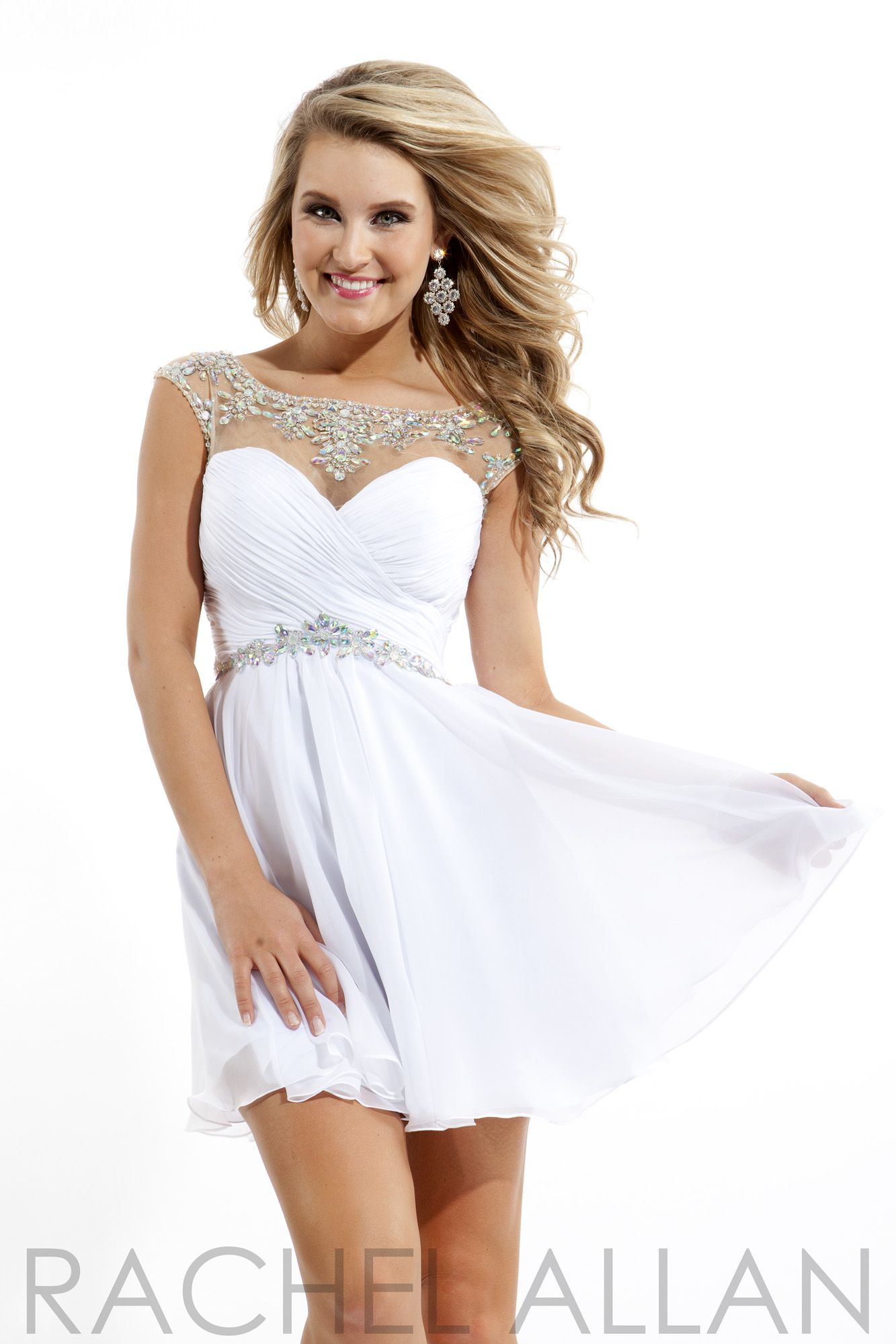 Rachel allan 6635 short white chiffon illusion prom dress