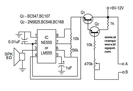 Simple Water Sensor #Circuit Diagram using IC 555