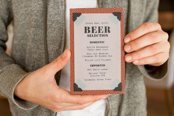 DIY  Pigskin Beer Menu Card Super bowl party, Menu and Beverage - beer menu