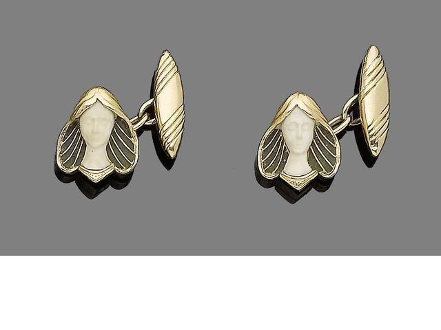 Silver, plique-à-jour enamel and ivory cufflinks.