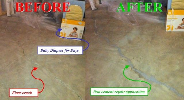 Interior Basement Waterproofing Before Dylok Painting   Wall Holes:  Hydraulic Cement. Floor Cracks: