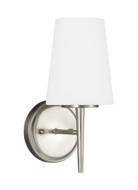 Sea gull lighting 4140401 driscoll single light 5 1 4 wide bathroom sconce with brushed nickel indoor lighting bathroom fixtures bathroom sconce bathroom