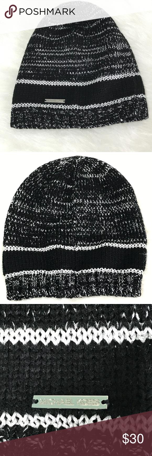 f4e83efba Michael Michael Kors Black/Silver Knit Hat NEW! Michael Michael Kors ...