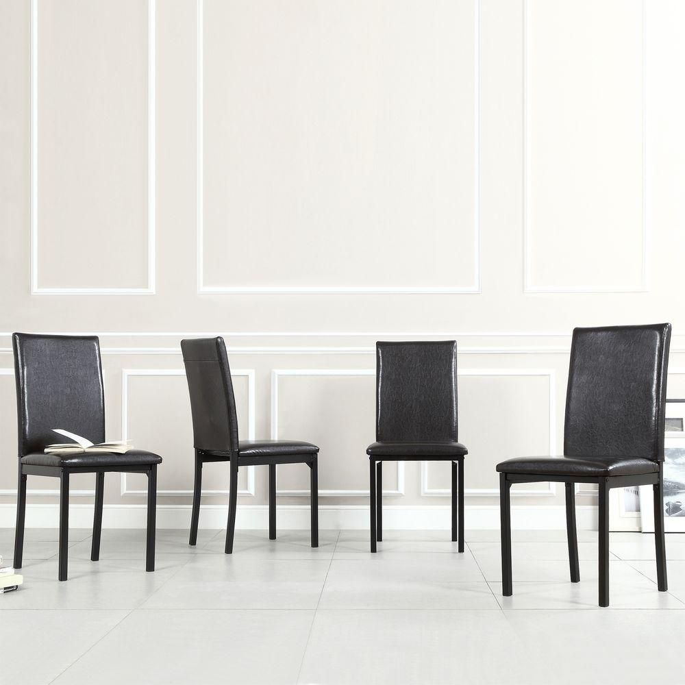 Bedford Black Faux Leather Dining Chair Set Of 4 To
