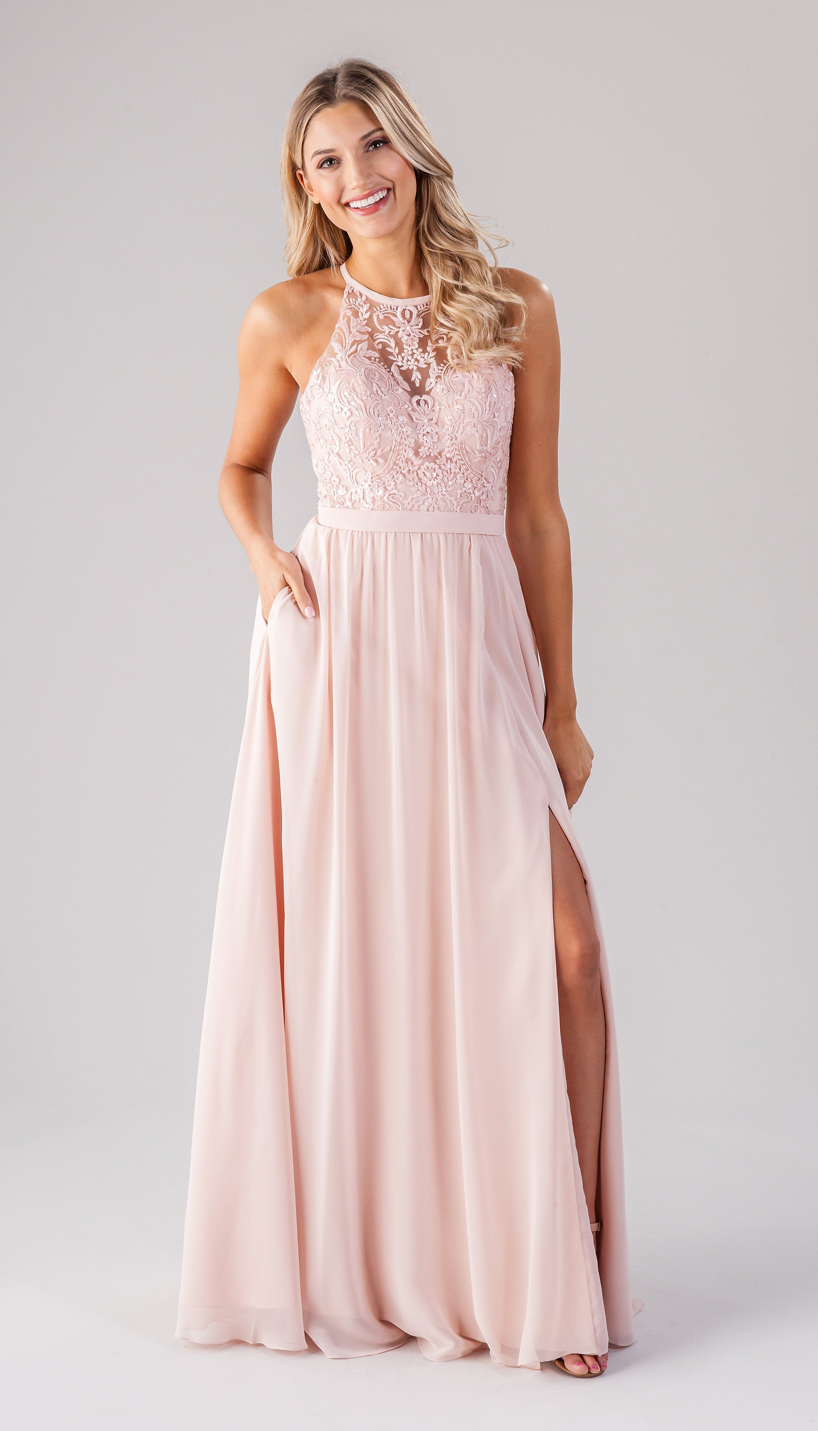 ed3a0e34cae2d Beaded And Embroidered Bridesmaids Dress With Lace Bodice And Chiffon Skirt