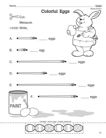 Kiddos use the egg manipulatives to measure the Easter