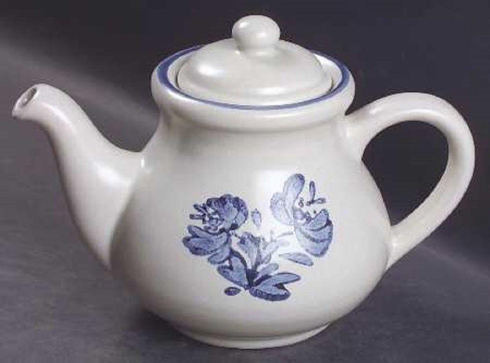 superb Pfaltzgraff Vintage Floral Part - 18: Vintage Pfaltzgraff Yorktowne Stoneware Teapot 550 Y blue floral  REPLACEMENTS #Pfaltzgraff