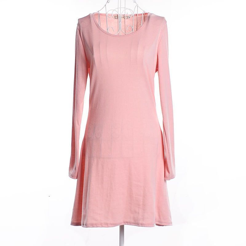 Hot Sale! 2015 New Spring Solid Slim Women Dress O-Neck Long Sleeve Female Dress 8 Colors