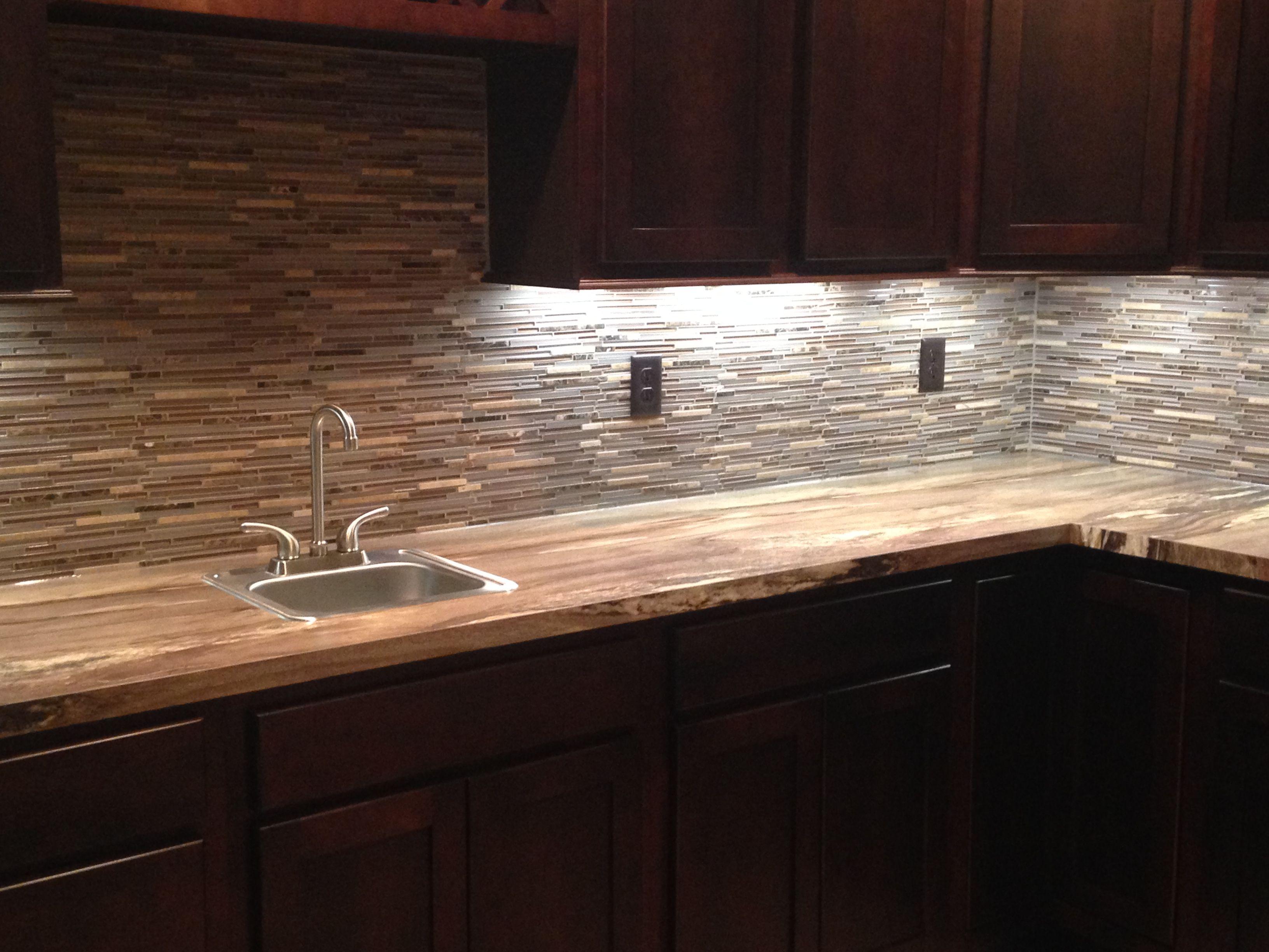 Thin Tile And Gl Mosaic Bar Backsplash