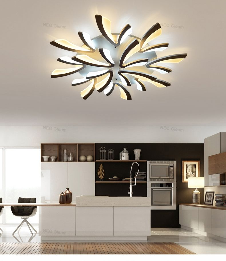 $98.64 | NEO Gleam Acrylic Thick Modern Led Ceiling Chandelier Lights For Living  Room Bedroom Dining