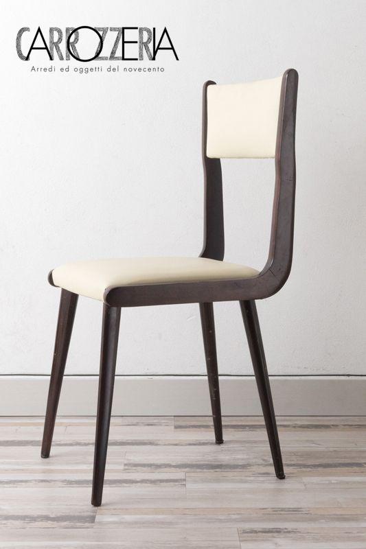 Sei sedie stile Carlo De carli, seduta in pelle bianca nuova e ...