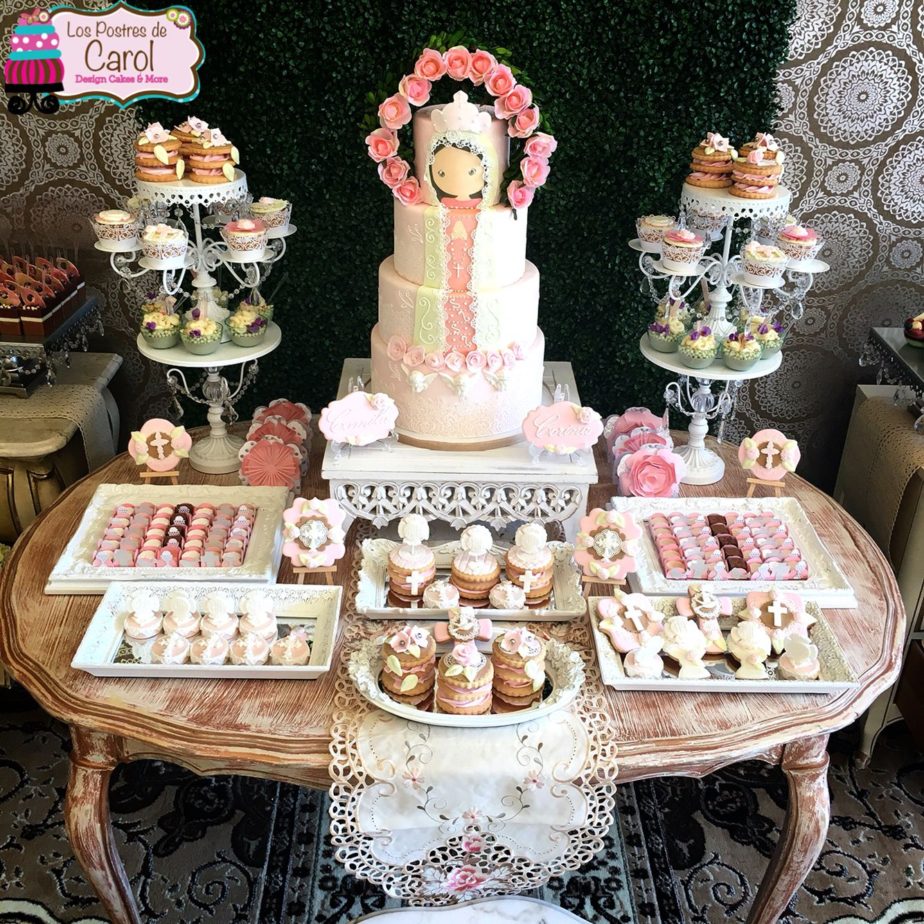 Dessert table vintage decor vintage theme first communion for Decoration de table