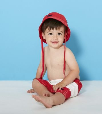 0cd4bf1d3a3 Le Top Infant   Toddler Boys Blue Whale on Red   White Color Block Swim  Trunks