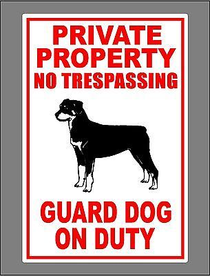 Details About Metal Guard Dog On Duty Sign Private Property No