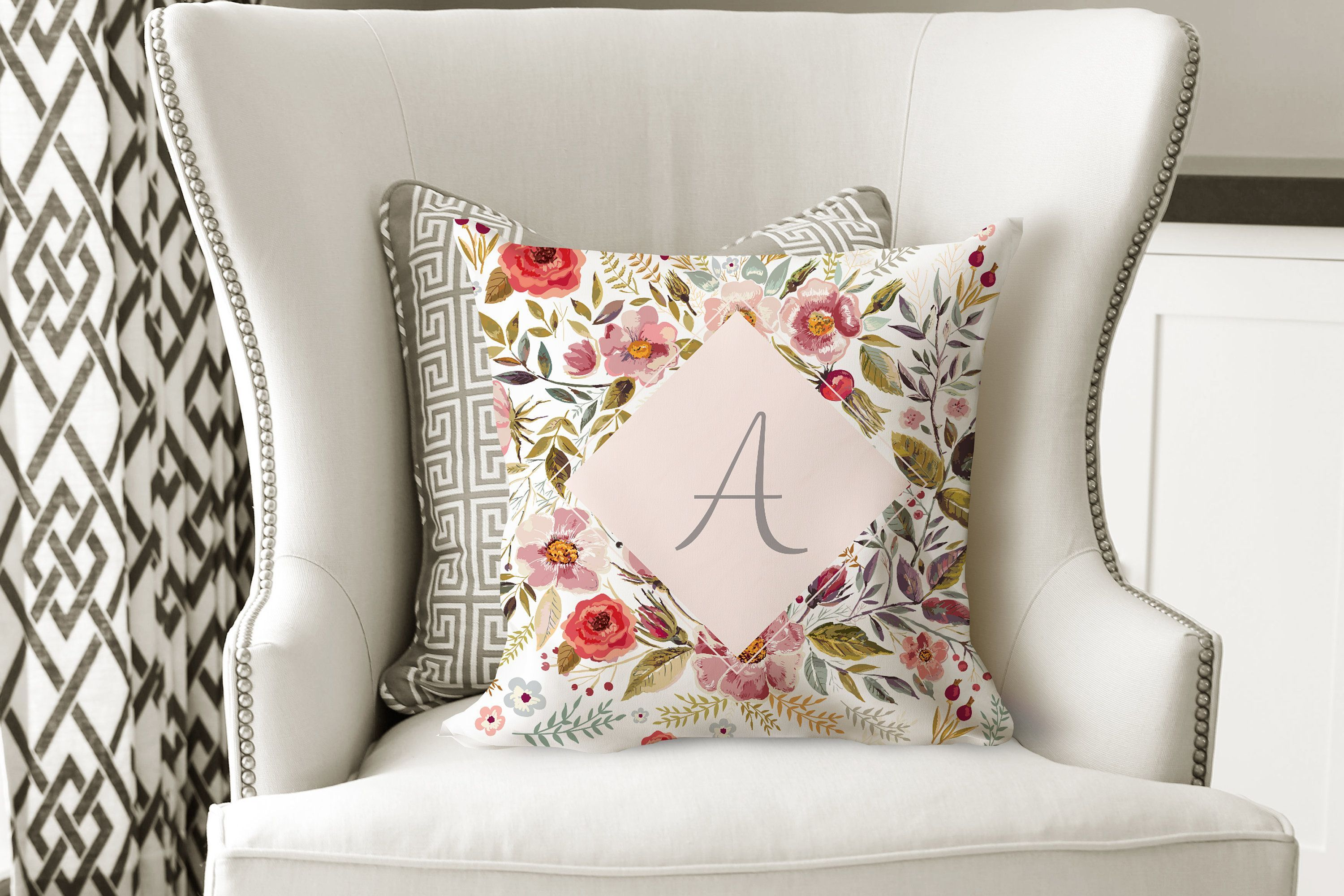 Personalized Letter Throw Pillow Floral Accent Pillow Custom Throw Pillow Kids Room Decor Letter Throw Pillows Floral Accent Pillow Throw Pillows