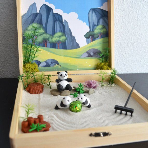 Ships May 3rd Panda Zen Garden Box Lucky Bamboo Wellness Zen Gifts Meditation Decor Kit Back To School Teacher Gift Desk Accessories Mini Zen Garden Zen Garden Design Lucky Bamboo