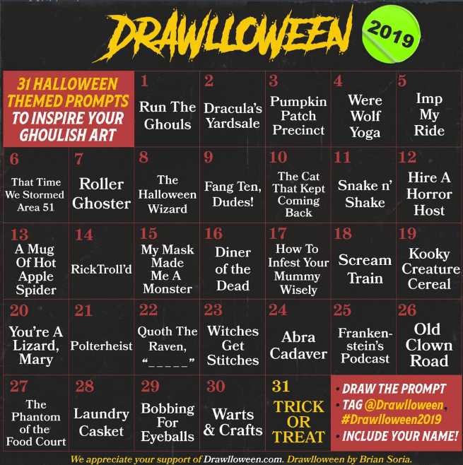 Drawing Challenge For Halloween 2020 Jhineida Draws & Art on Twitter | Prompts, Art journal prompts
