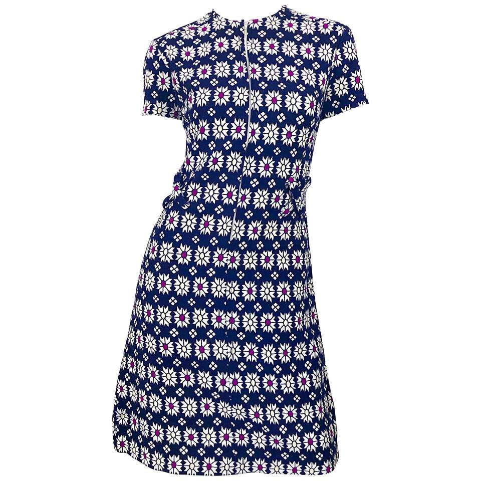 ecd1a04853b89 Chic 1960s Navy Blue + Fuchsia + Yellow Geometric Daisy Print 60s A Line  Dress For Sale