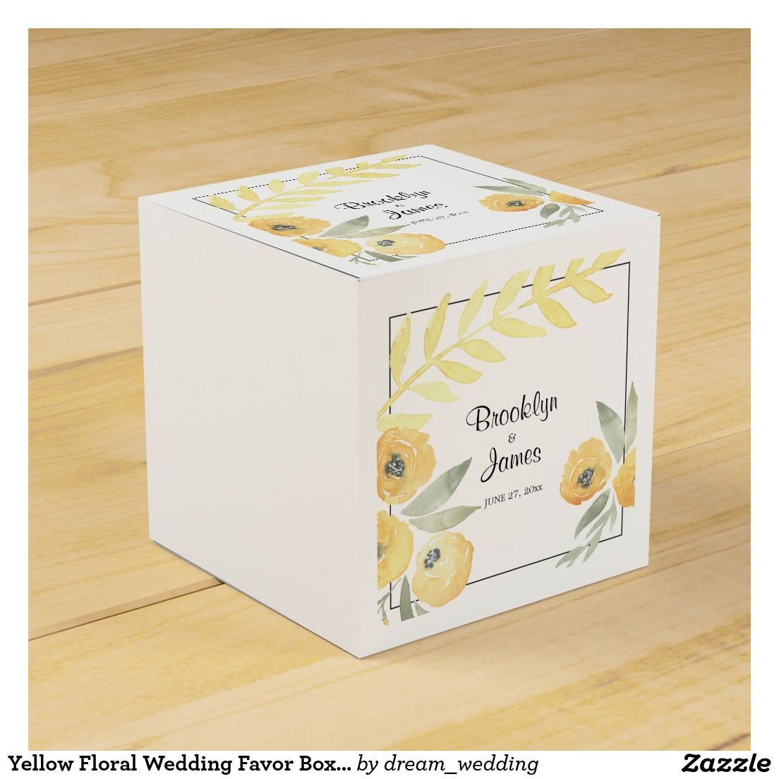 Yellow Floral Wedding Favor Boxes | All Zazzle | Pinterest